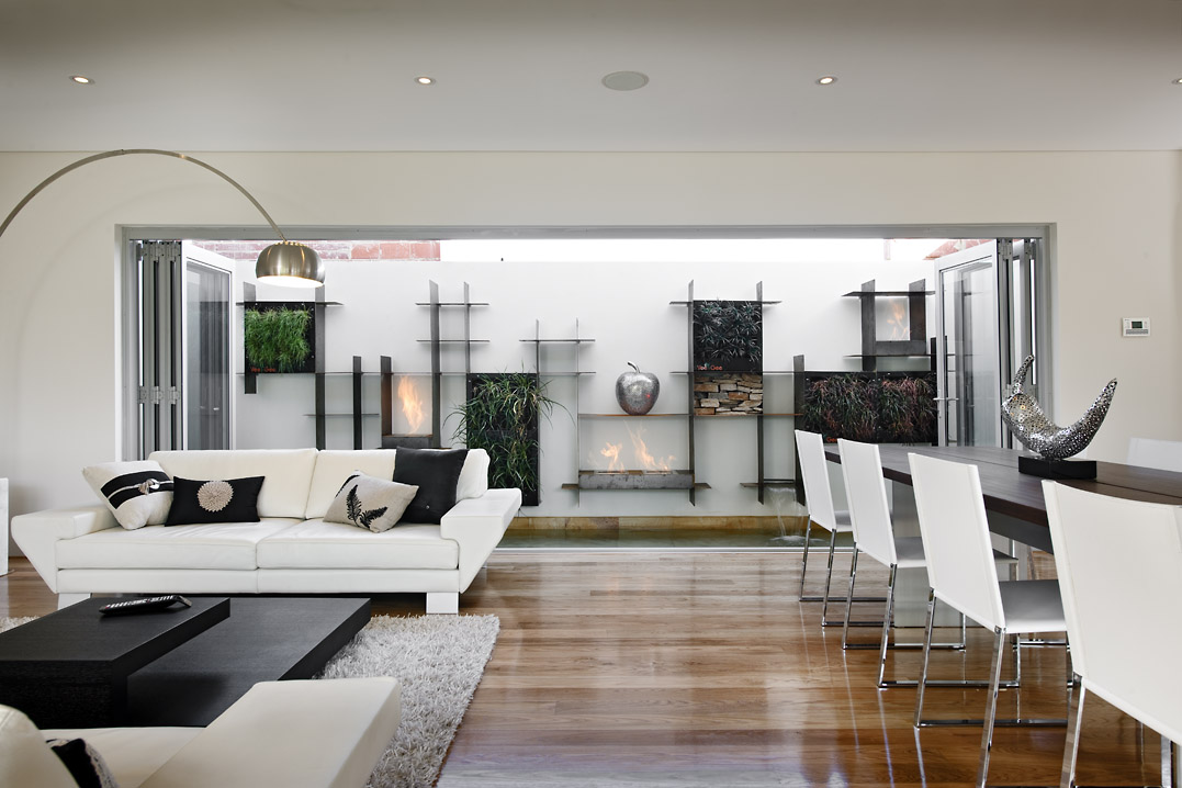 Residential Attitudes - Contemporary living room with outside feature wall