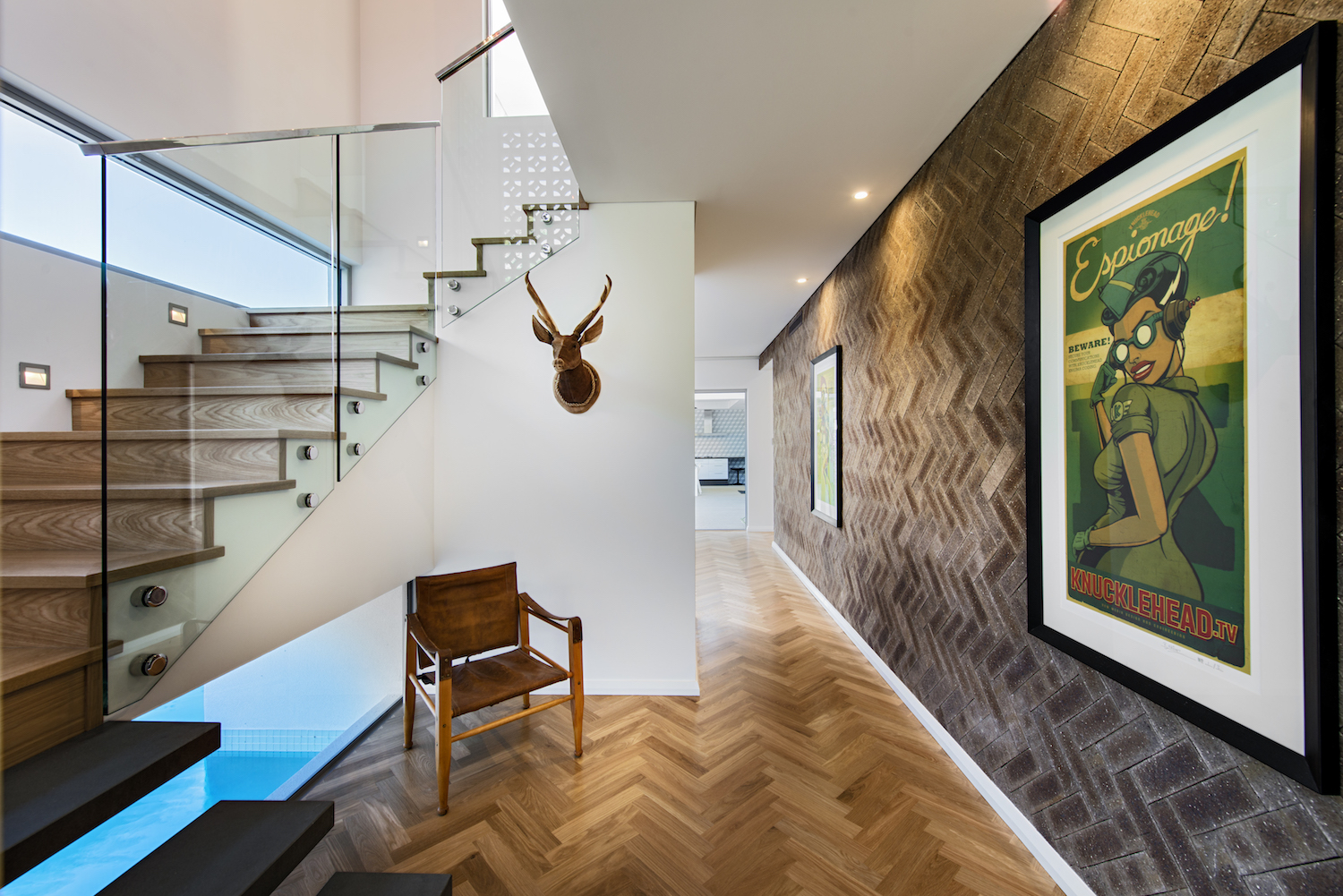 Residential Attitudes - Empire display home - stairway with art feature