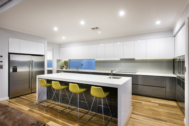 Residential Attitudes - Oswald Homes designed house - kitchen with over-sized kitchen island bench,