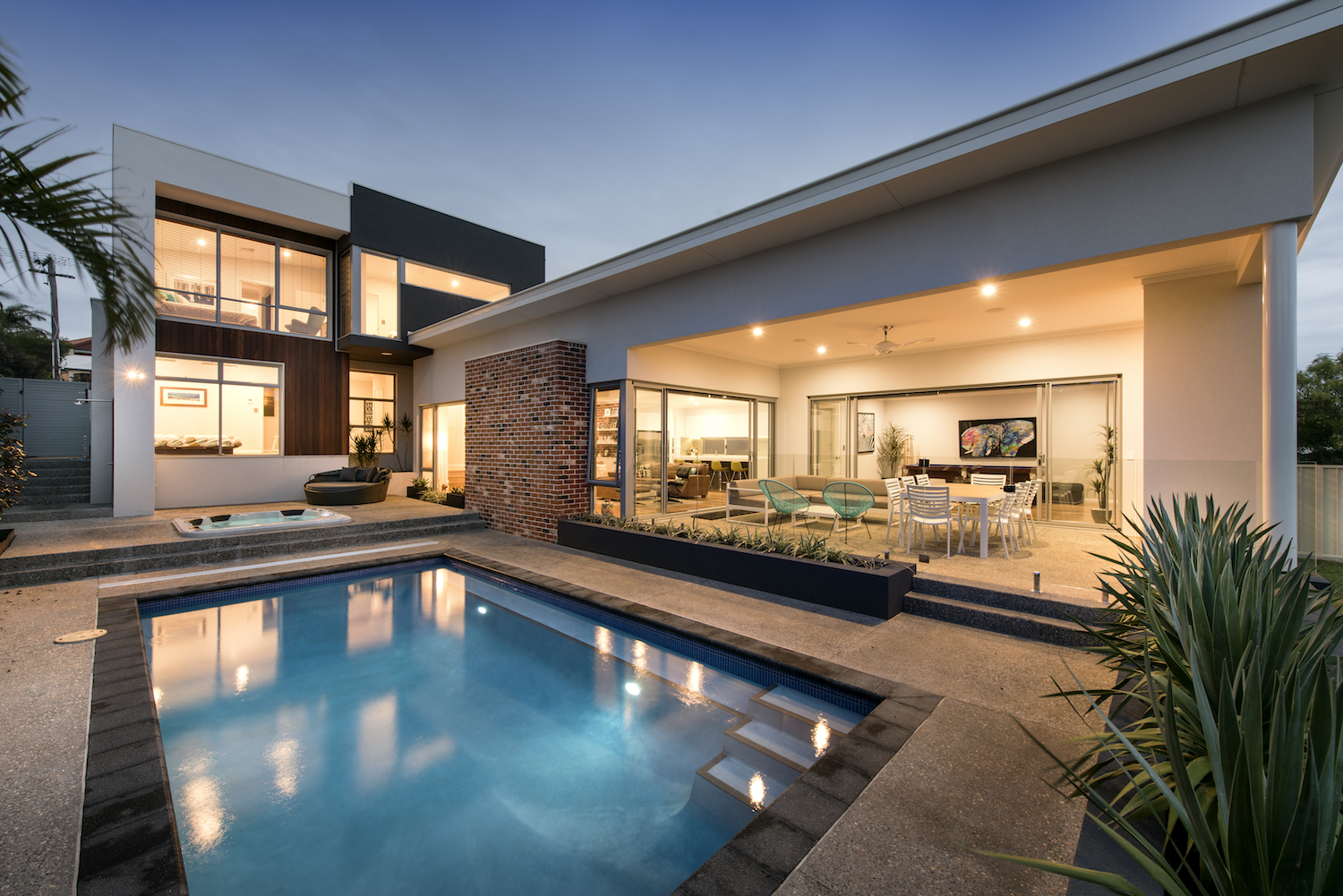 Residential Attitudes - Swimming pool with porch and down-lights