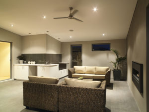 Residential Attitudes - Alfresco lounge with fireplace and roof fan