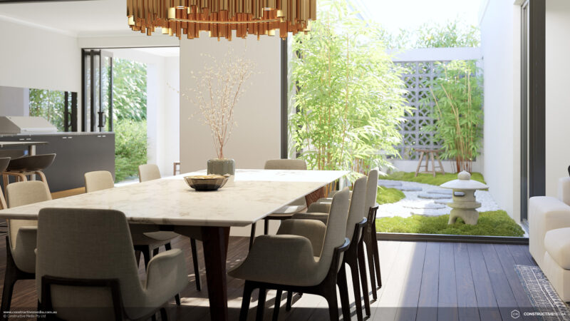 Residential Attitudes - Yuma view of dining room and garden