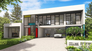 Front view of two storey house with sports car and motorbike parked in open garage - Residential Attitudes