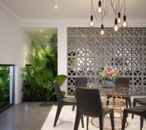 Residential Attitudes - Dining room with breeze blocks wall