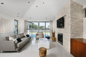 Residential Attitudes - cosy contemporary lounge with fireplace
