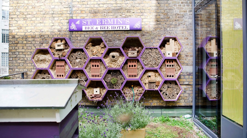 Bee hotel in London, with purple hexagons.